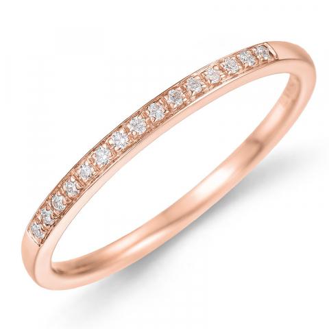 Diamantring i 14 karat rødt gull 0,09 ct