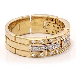 diamant gull ring i 14 karat gull og hvitt gull 0,29 ct