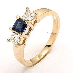 Safir ring i 14 karat gull 0,52 ct 0,36 ct