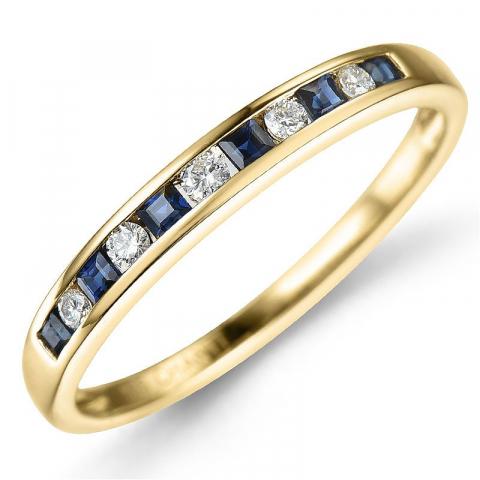 Safir ring i 14 karat gull 0,11 ct 0,26 ct