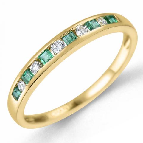 Smaragd gull ring i 14 karat gull 0,11 ct 0,21 ct
