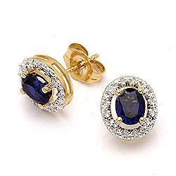 Ovale øredobber i 9 karat gull med syntetiske safirer og zirkoner