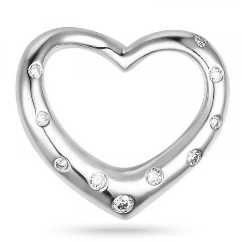 Hjerteanheng i 14 karat hvitt gull 0,12 ct