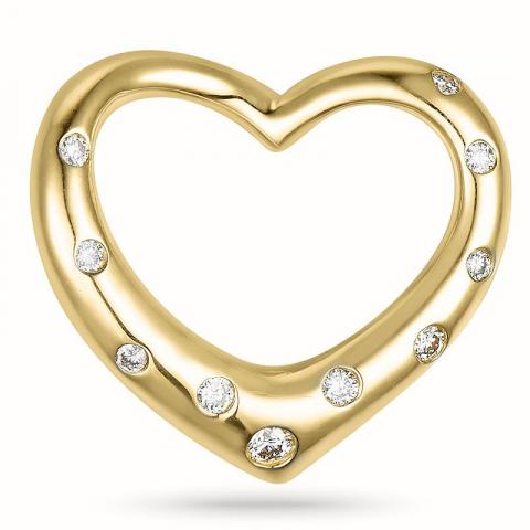 Hjerteanheng i 14 karat gull 0,12 ct