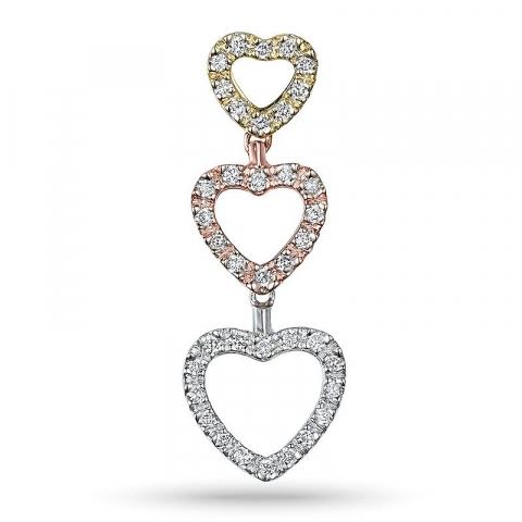 Hjerte diamant hjerteanheng i 14 karat gult, hvitt og rødt gull 0,17 ct