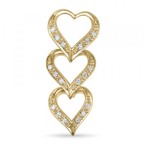 Diamant hjerteanheng i 14 karat gull 0,10 ct