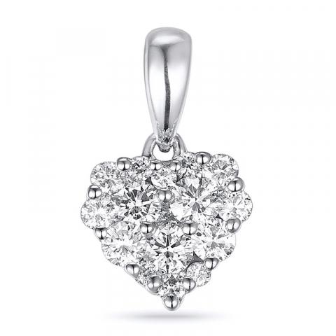Vakkert diamant hjerteanheng i 14 karat hvitt gull 0,35 ct