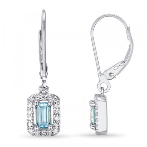 Blå topas øredobber i 14 karat hvitt gull med diamanter og topaser