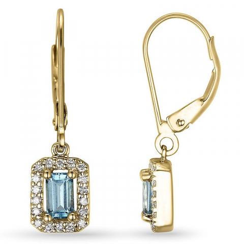 lange topas øredobber i 14 karat gull med diamant og topas