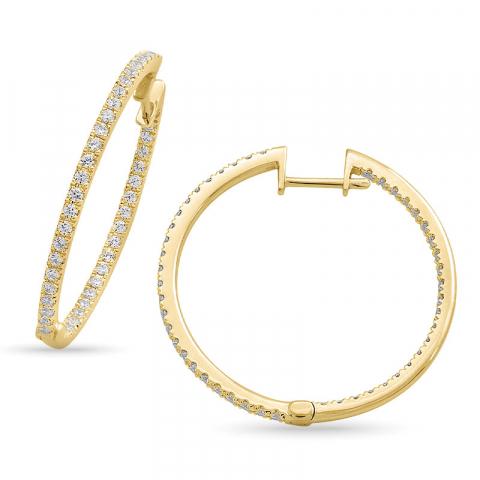 eksklusiv 28 mm diamant creol i 14 karat gull med diamant