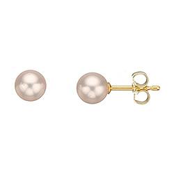 6 mm Scrouples runde hvite perle øredobber i 8 karat