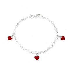 Søtt Scrouples hjerte armbånd i sølv rød emalje