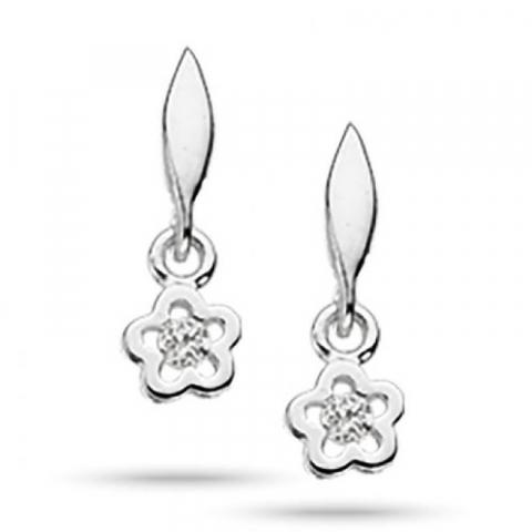 Pene Scrouples blomst øredobber i sølv hvite zirkoner
