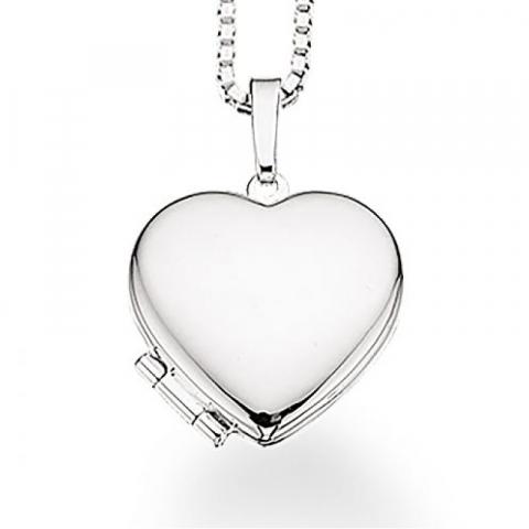 Simpelt Scrouples hjerte medaljong med kjede i sølv