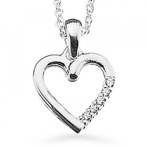 Fint Scrouples hjerte anheng med halskjede i sølv hvite zirkoner