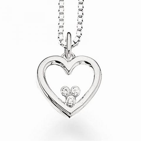 Scrouples hjerte anheng med halskjede i sølv hvite zirkoner
