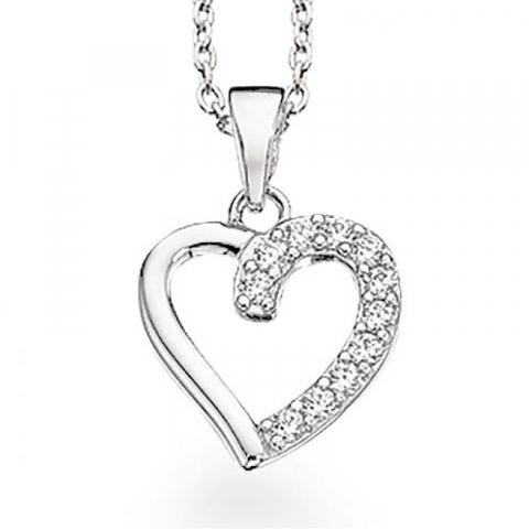 55 mm Scrouples hjerte anheng med halskjede i sølv hvite zirkoner