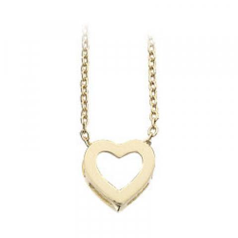 Enkelt Scrouples hjerte anheng med halskjede i 8 karat med Forgylt sølv halskjede