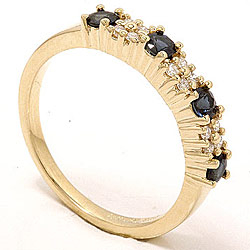 safir diamantring i 14 karat gull 0,12 ct
