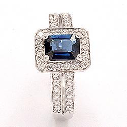 blå safir ring i 14 karat hvitt gull 0,43 ct 1,05 ct