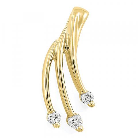 Diamant anheng i 14 karat gull 0,07 ct