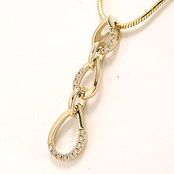 Dråpeformet langt anheng i 14 karat gull 0,09 ct