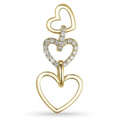 Smykke diamant hjerteanheng i 14 karat gull 0,27 ct