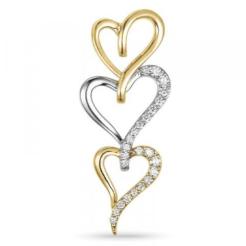 Hjerte anheng i 14 karat gull og hvitt gull 0,26 ct
