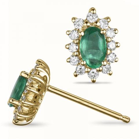Smaragd rosettørepynt i 14 karat gull med diamanter og smaragder