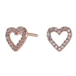 Moderne Joanli Nor hjerte øredobber i rosabelagt sølv hvit zirkon