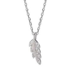 Lille Joanli Nor blad anheng med halskjede i sølv hvite zirkoner