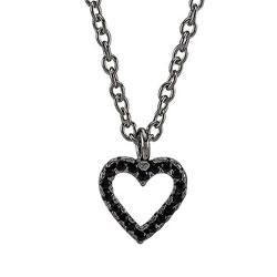 Elegant Joanli Nor hjerte anheng med halskjede i svart rodinert sølv svarte zirkoner