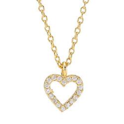 Pent Joanli Nor hjerte anheng med halskjede i forgylt sølv hvite zirkoner