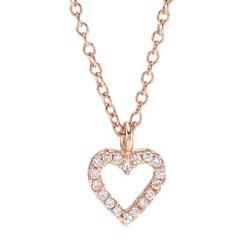 Klassisk Joanli Nor hjerte anheng med halskjede i rosabelagt sølv hvite zirkoner