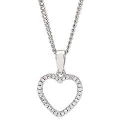 Flott Joanli Nor hjerte anheng med halskjede i sølv hvite zirkoner