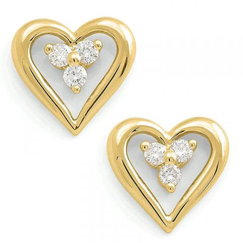 Fin hjerte ørestikker i 14 karat gull med diamanter