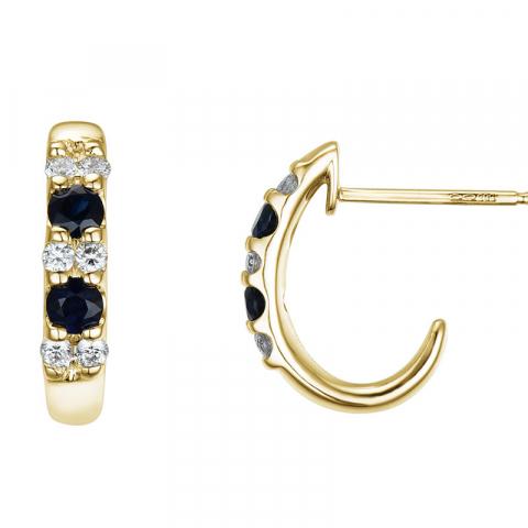 Safir øredobber i 14 karat gull med diamanter og safirer