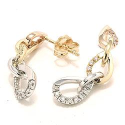 Diamant ørestikker i 14 karat gull hvittgull rødt gull med diamanter