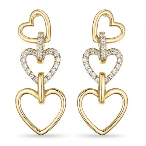 hjerte briljantøredobb i 14 karat gull med diamant