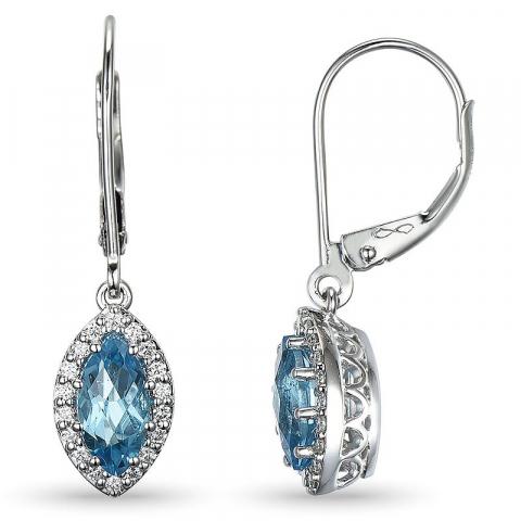 Blå topas diamantøredobb i 14 karat hvitt gull med diamanter og topaser