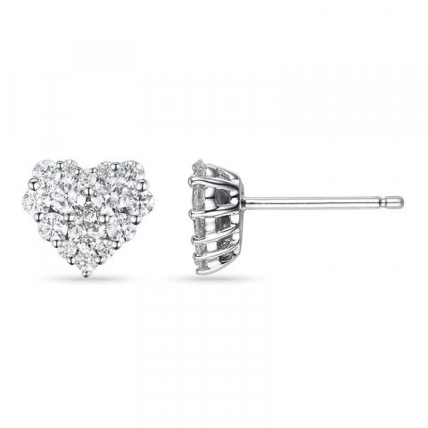 Smykke diamantøredobb i 14 karat hvitt gull med diamanter