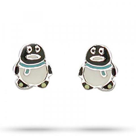 Fin Aagaard pingvin øredobber i sølv multifarget emalje