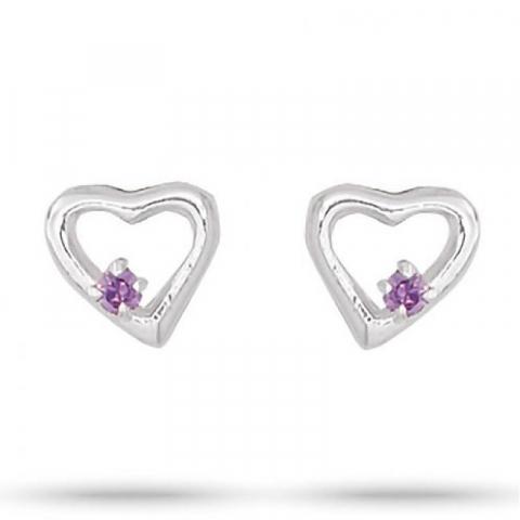 Pene Aagaard hjerte lilla zirkon øredobber i sølv lilla zirkoner