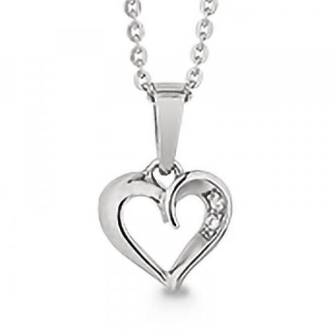 Vakkert Aagaard hjerte zirkon anheng med halskjede i sølv hvite zirkoner