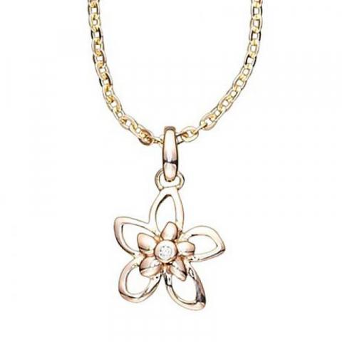 Elegant Aagaard blomst anheng i 8 karat med Forgylt sølv halskjede hvit zirkon