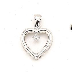 Hjerteanheng i 14 karat hvitt gull 0,02 ct