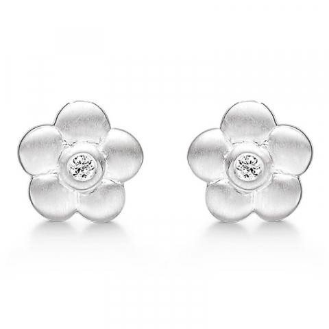 Fin Støvring Design blomst øredobber i sølv hvite zirkoner