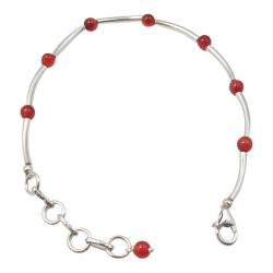 Rundt rød armbånd i sølv