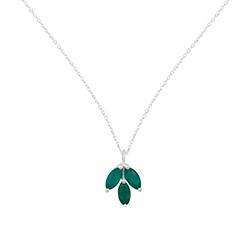 Grønn onyks halskjede i sølv med anheng i sølv