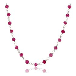 Pen rosa aventurin halskjede i sølv 42 cm plus 5 cm x 3,0 mm